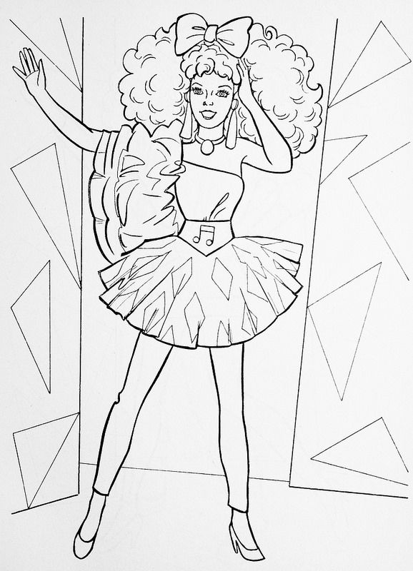 1986 Barbie And The Rockers Diva Fashion Illustration Coloring Pages Free Coloring Pages Colouring Pages