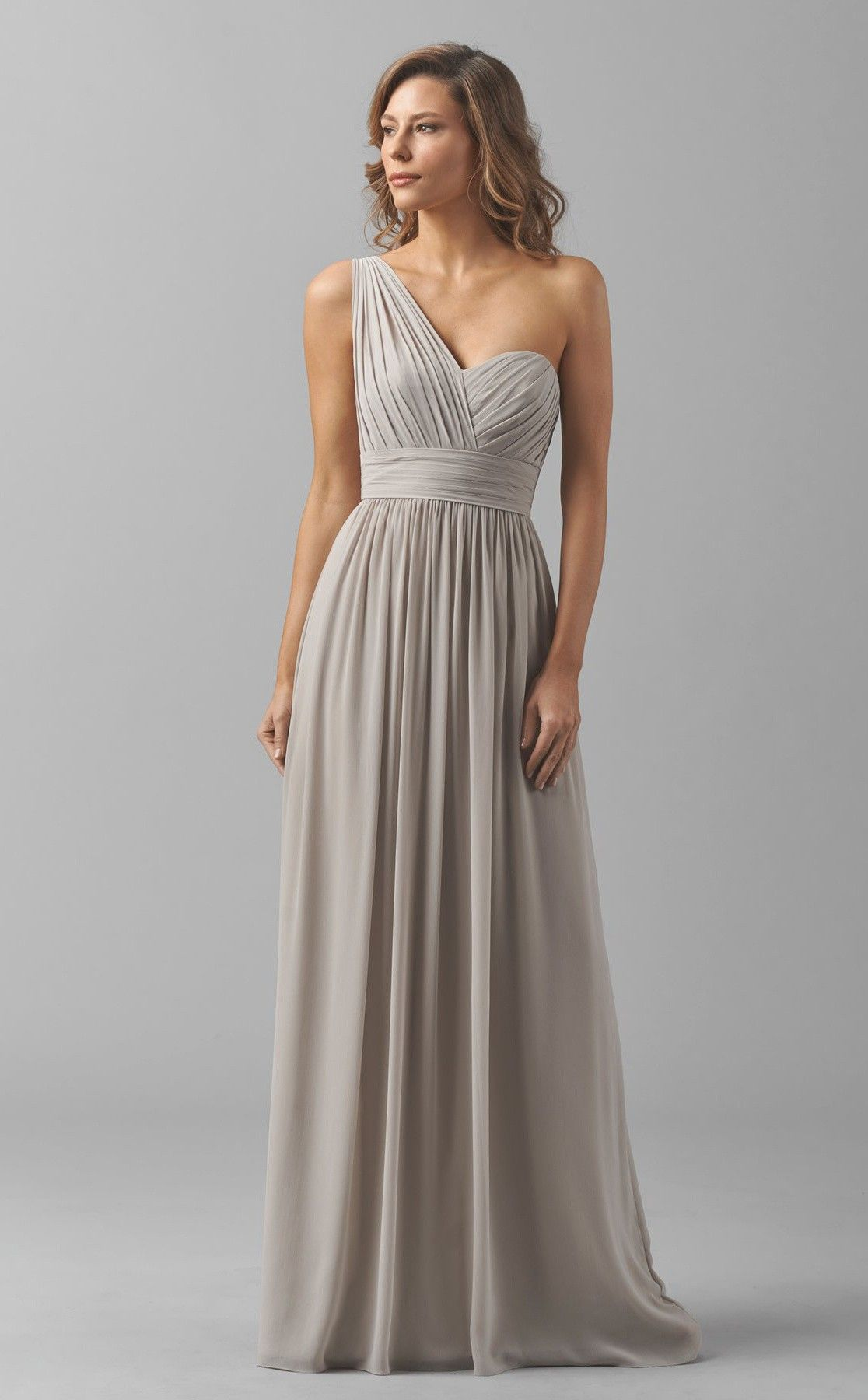 Long Chiffon Sliver Empire Waist One Shoulder Bridesmaid Dresses ... 39a0a985244b