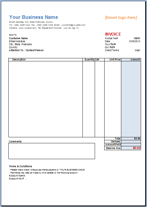 Excel Invoice Template Invoice Template Gallery Invoice Template Invoice Template Word Receipt Template