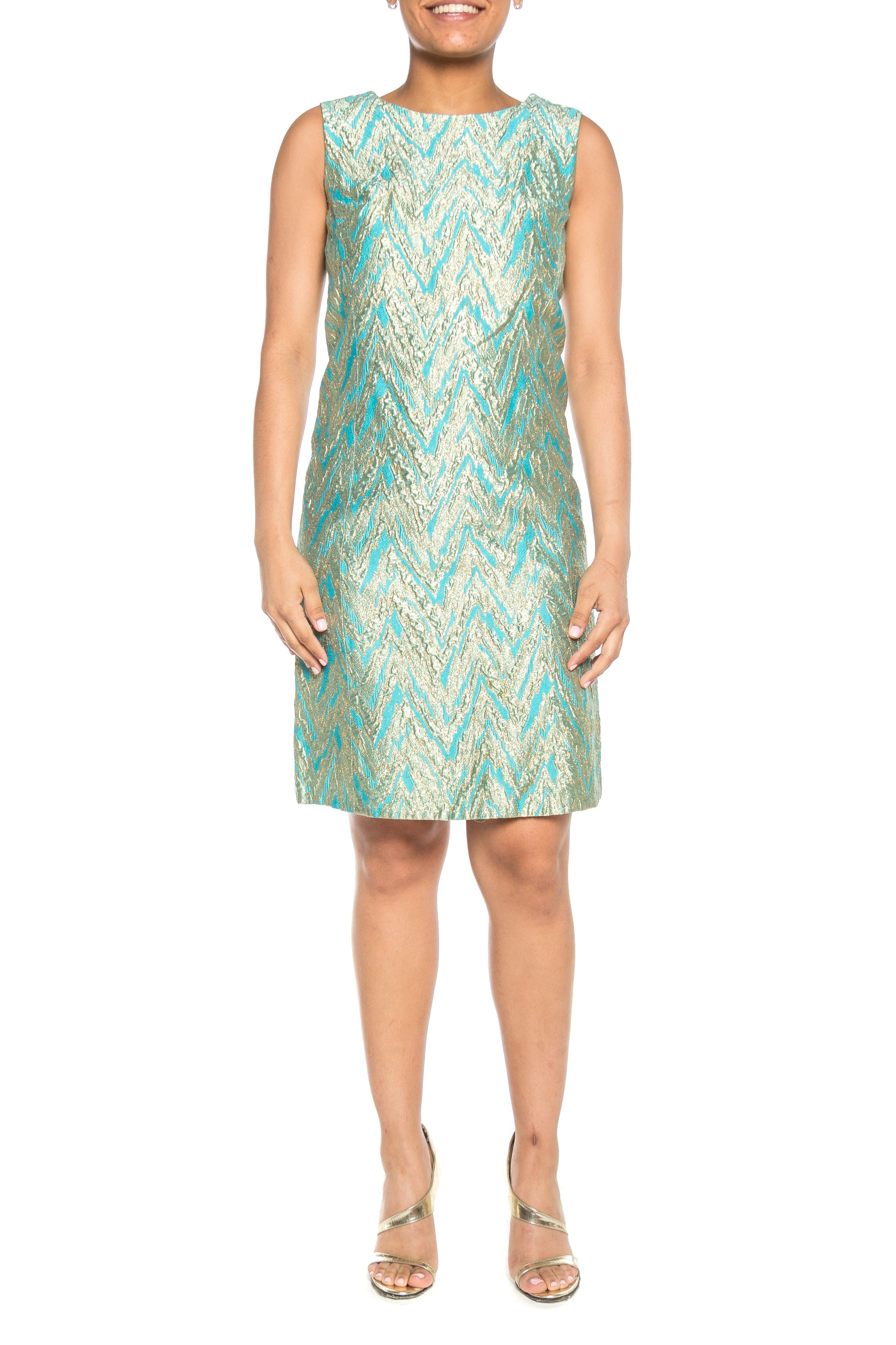Gold And Turquoise Brocade 60s Mod Cocktail Shift Dress Shift Dress Dresses Vintage Dresses [ 5184 x 3456 Pixel ]