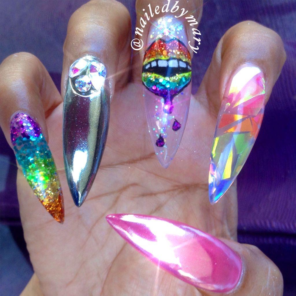 Rainbow lips long stilettonails mirror chrome pointy hologram glass ...