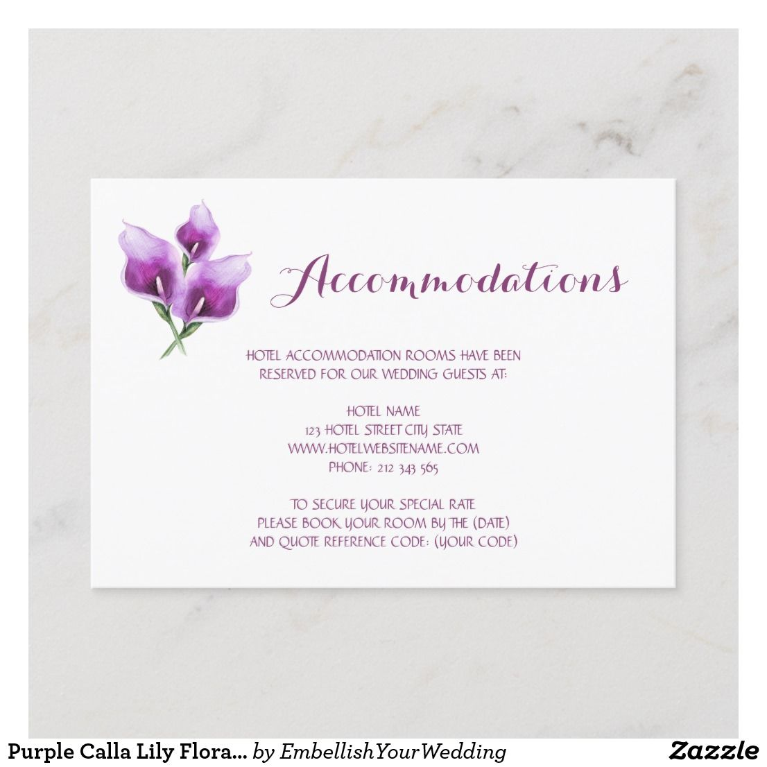 Purple Calla Lily Floral Wedding Accommodations Enclosure Card