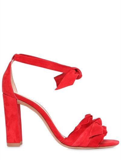 ALEXANDRE BIRMAN 90MM LUPITA RUFFLES SUEDE SANDALS, RED. #alexandrebirman #shoes #sandals