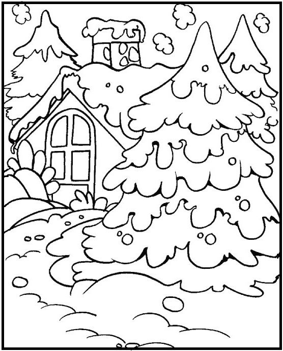 Home Page Full With Snow coloring picture for kids   Winter ...