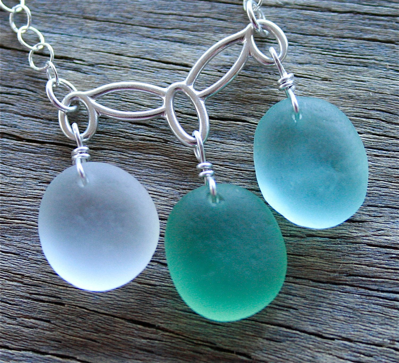 Sea Glass Jewelry White Green Aqua Festoon by OceanCharmsSeaGlass, $48.00