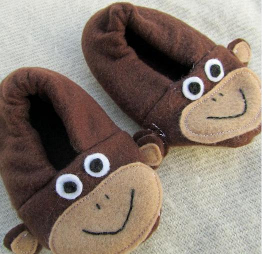 Monkey Slipper Sewing Pattern 0-24m | zapaticos | Pinterest | Sewing ...