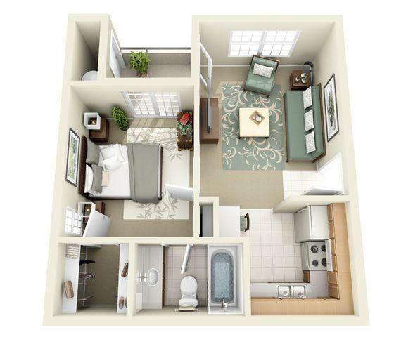 Hunter Ridge Apartment Homes: Greenway Floor Plan 1 Bedroom 1 Bathroom