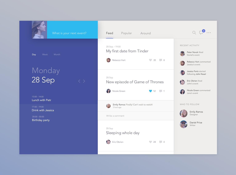 Dribbble social app ui design jpg by ramotion - Dribbble Social Calendar App By Jakub Antal K