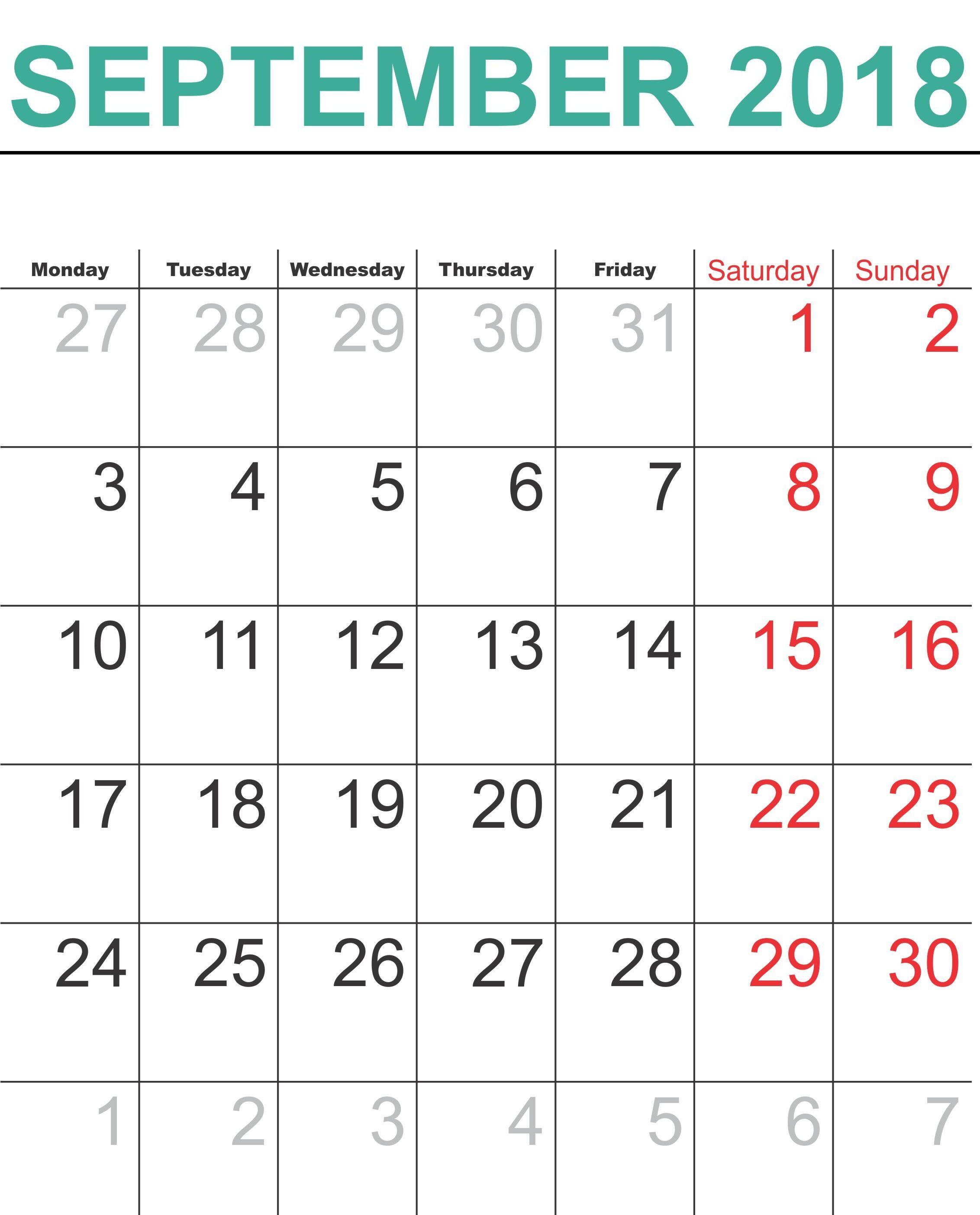 calendar september 2018 template free download universe
