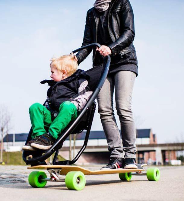 Patinete Silla Bebe: La Poussette Des Skateboardeurs