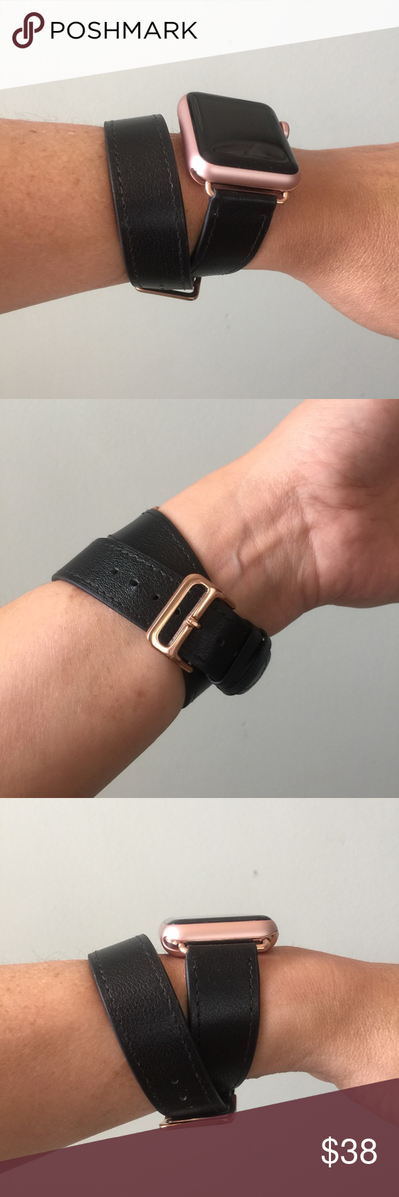 3bac2dcbd Black Apple Watch double tour band with ROSE GOLD! Black Apple Watch double  tour band with ROSE GOLD adapters and buckle. It comes with either 38mm or  42mm ...