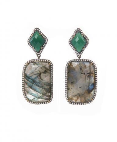 Shop Latitude Bazaar, Mumbai, Green Square Stone Drop Earrings