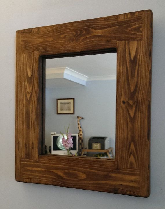 Wooden Wall Mirror Chunky Natural Wood Small Frame Dark Wood Etsy Mirror Wall Living Room Mirror Design Wall Mirror Wall Bedroom