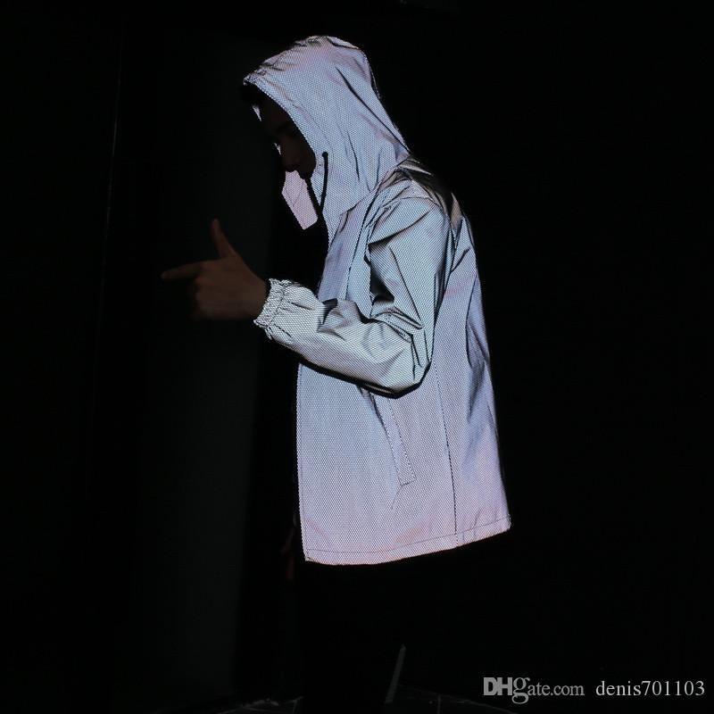 94344df55 Fashion Men Jacket Casual Hiphop Windbreaker 3m Reflective Jacket Men Sport  Coat Hooded Fluorescent Clothing Fur Leather Jackets Guys Coats From  Denis701103 ...