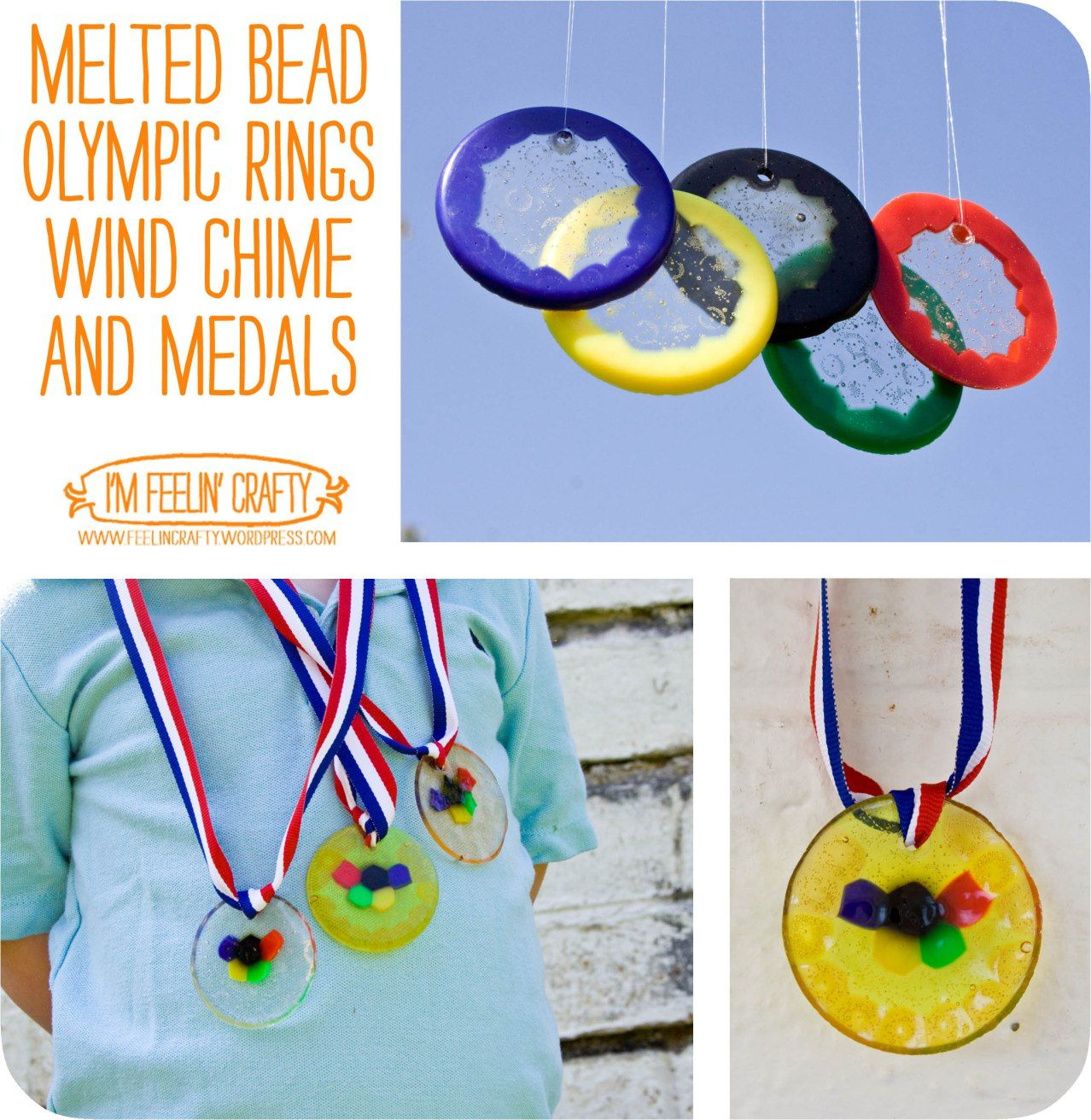 Melted Bead Olympic Rings and Medals- I'm Feelin' Crafty