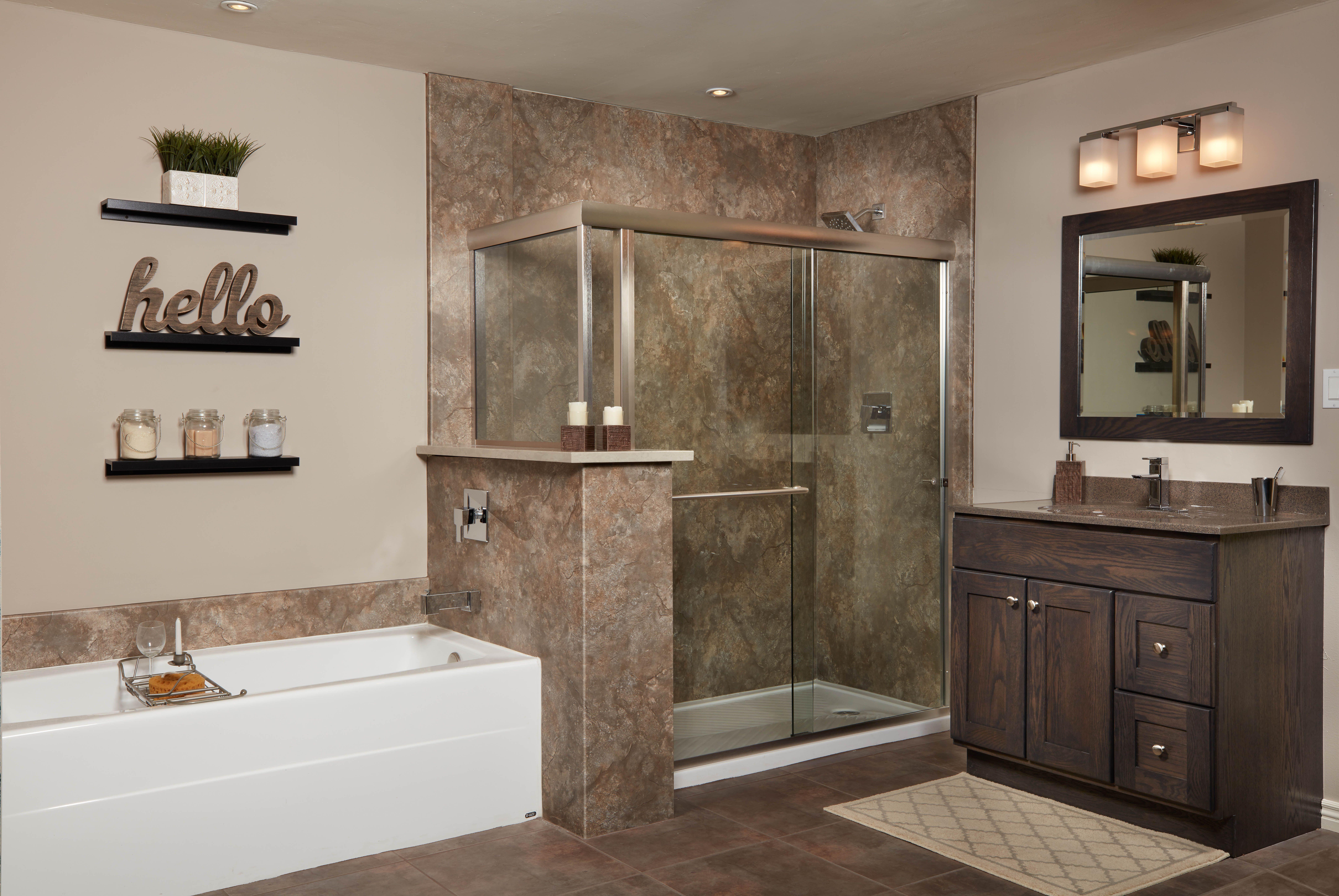 Desert Stone Shower Wall Surround Complete Bathroom Remodel Stone Shower Walls Bathrooms Remodel