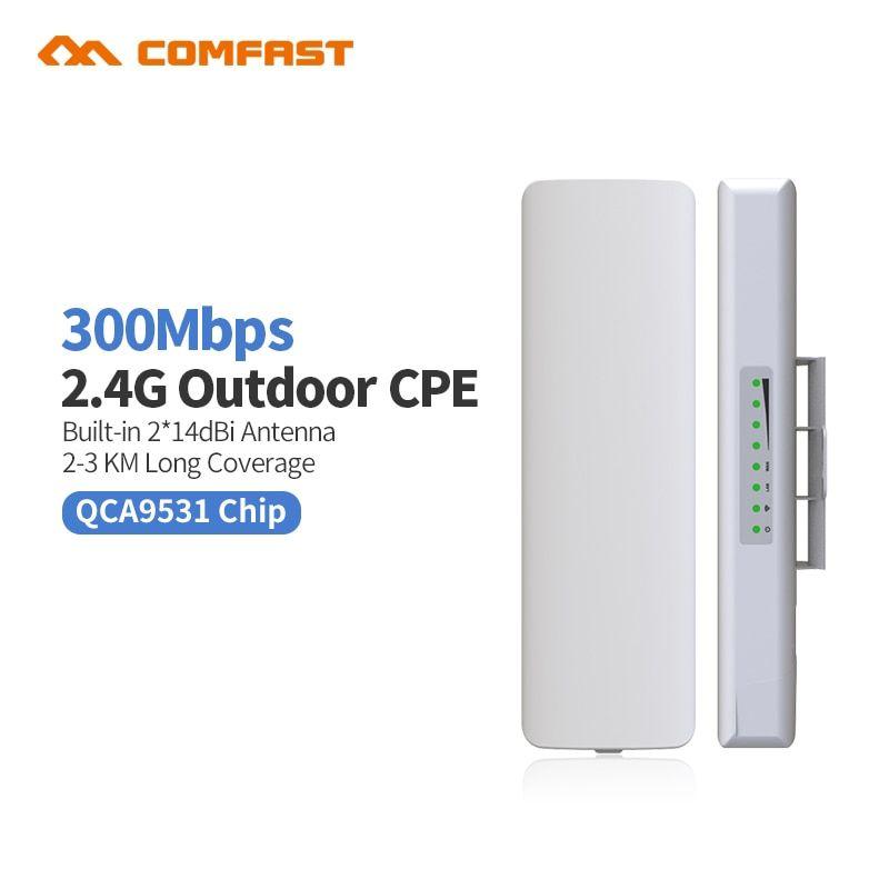 Comfast Cf E314nv2 Outdoor Cpe Bridge 300m Long Range Signal Booster Extender 3km Wireless Ap 2 14dbi Wifi Repeater Na Signal Boosters Wifi Router Wifi Antenna