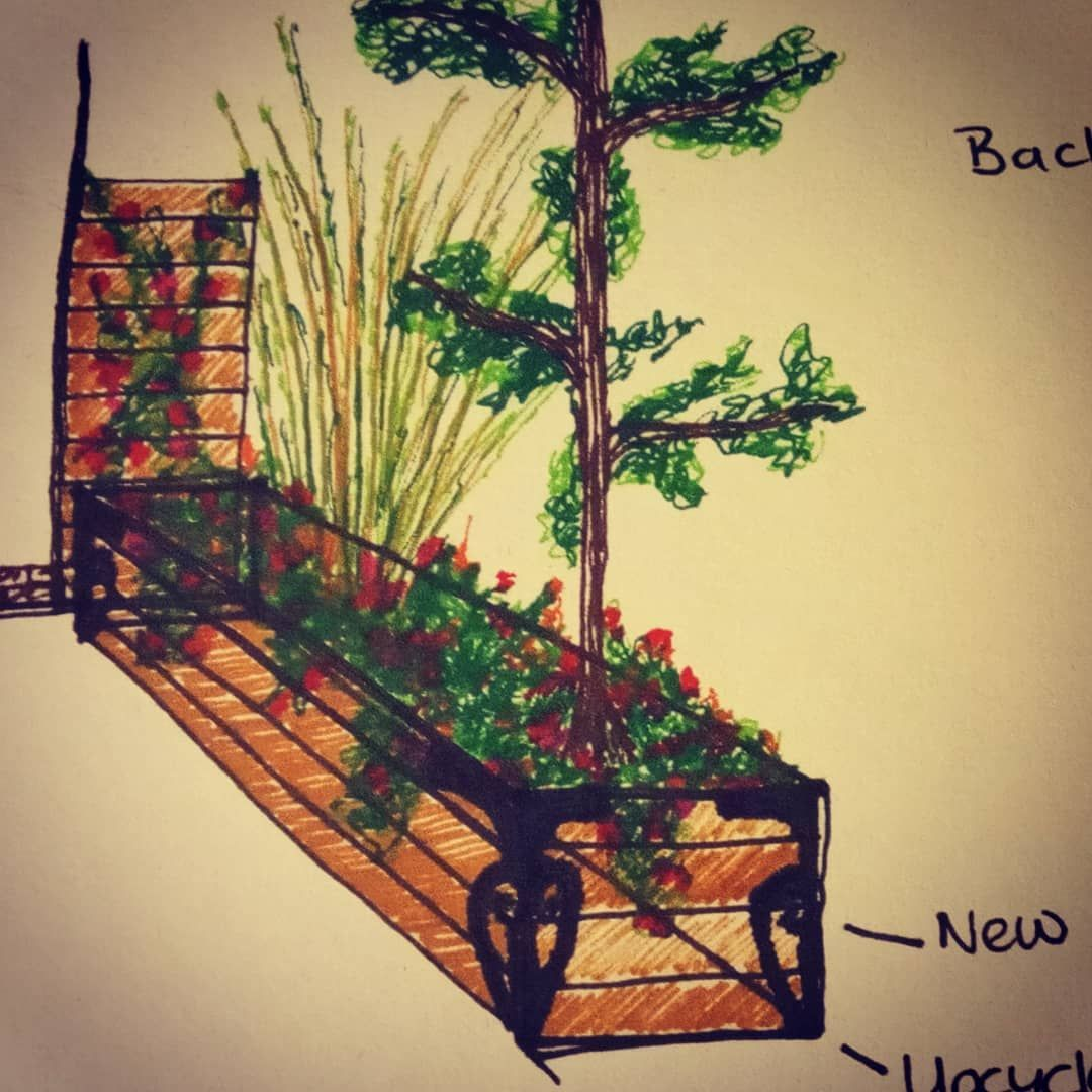 A quick preliminary design sketch for an extra long wooden garden planter.  Using upcycled ironworks we found buried in the clients garden.  Not sure what they are??? Love #upcycling  #TheGardenFairy #gardendesign #planter #derbyshire #vlog #vlogger #blog #blogger #gardens #gardener #design #wood #iron #woodengardenplanters