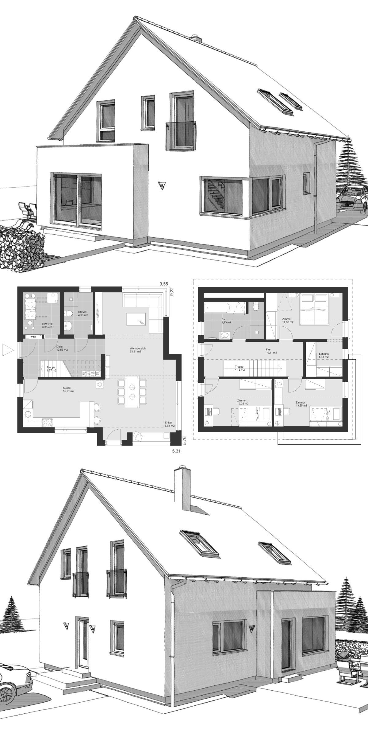 Modernes einfamilienhaus neubau grundriss klassisch mit for Architektur klassisch