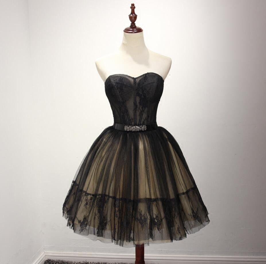 Black see through homecoming prom dresses little black dress