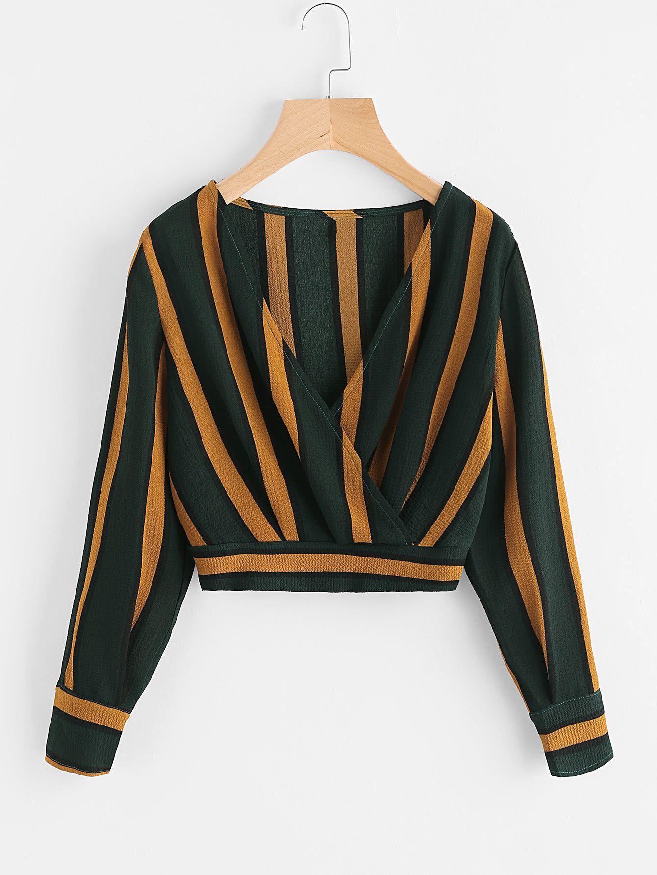 72b8aa258a Green and Yellow Striped V-Neck Surplice Crop Top. Material  Polyester  Color  Green