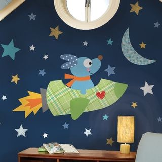 @Overstock - Blast off into outer space with a friendly canine companion. This giant Rocketdog wall decal will help your little one go exploring among the stars and planets. To apply just peel each element from the sheet and apply it to any smooth surface you please.http://www.overstock.com/Baby/Rocketdog-Peel-Stick-Giant-Wall-Decals/7424333/product.html?CID=214117 $35.99