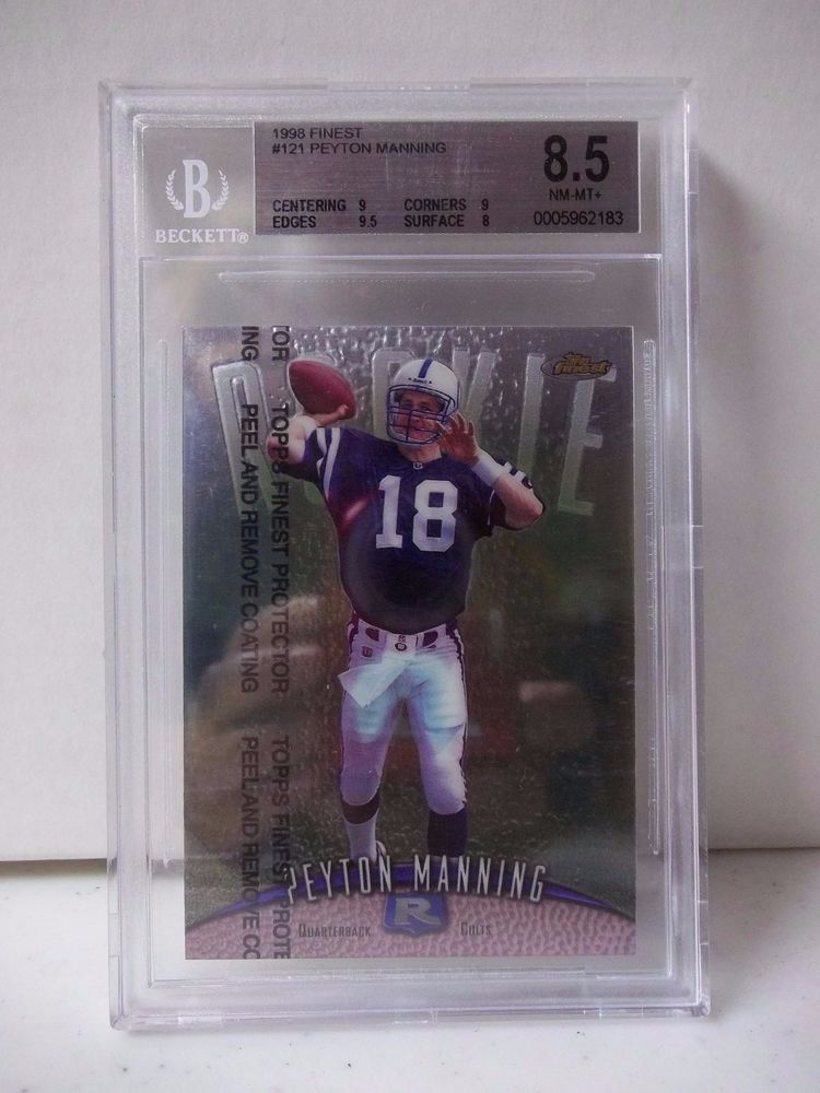 1998 topps finest peyton manning rookie graded bgs nmmt 8