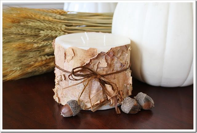 Birch bark wrapped candle