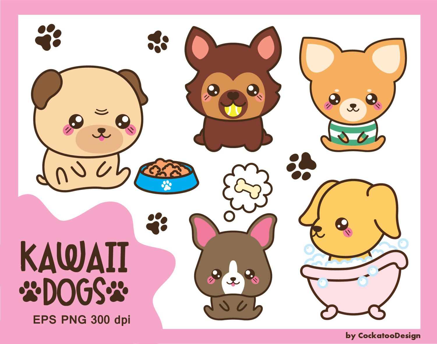 small resolution of 50 off sale kawaii dog clipart cute dog clipart dog breeds clipart puppy clipart pug clipart boston terrier clipart commercial use by cockatoodesign