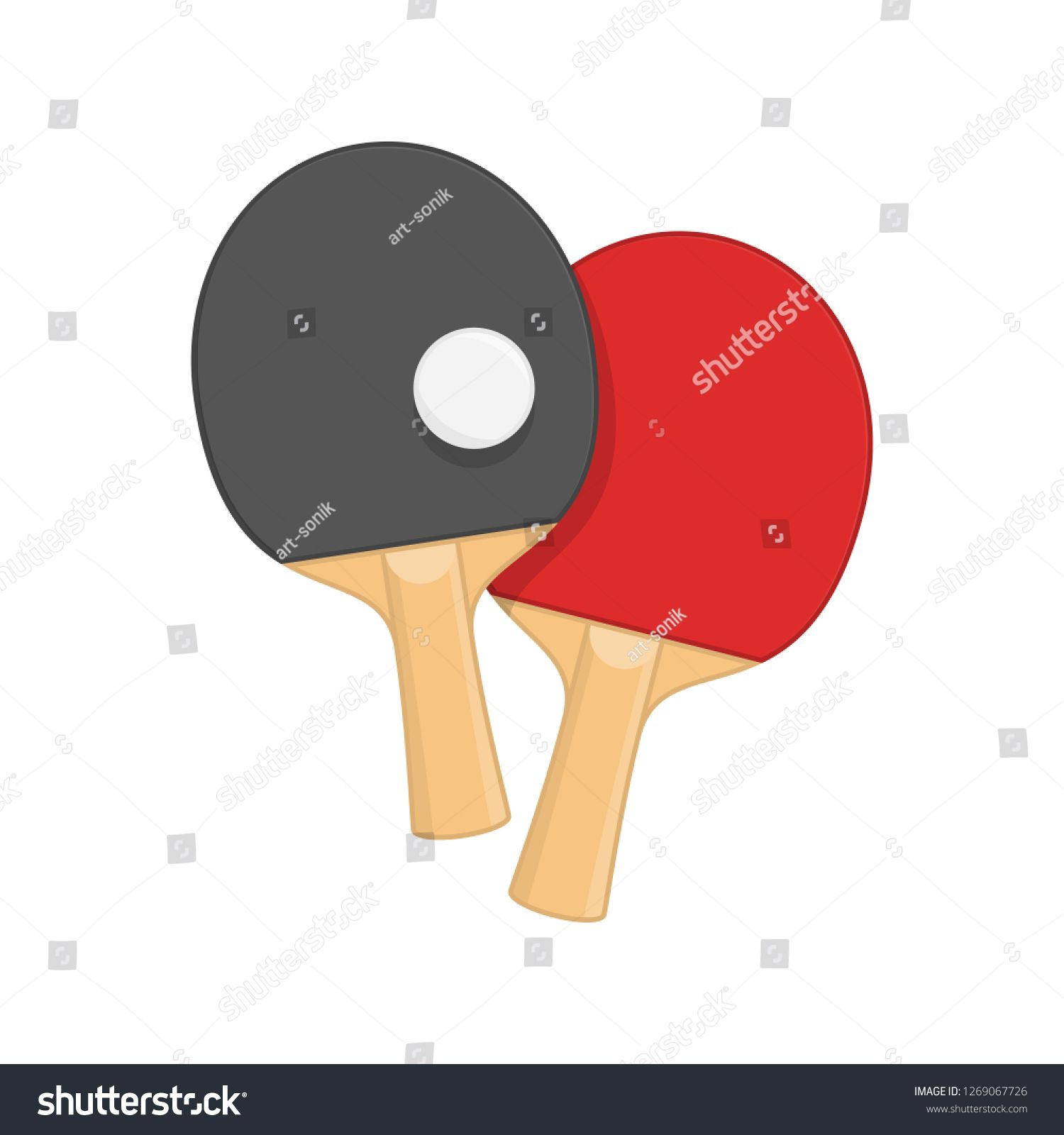 Two Ping Pong Rackets With Ball In Flat Style Racket For Playing Table Tennis Isolated On White Background Sports Equipment Co Ping Pong Rackets Play Tennis