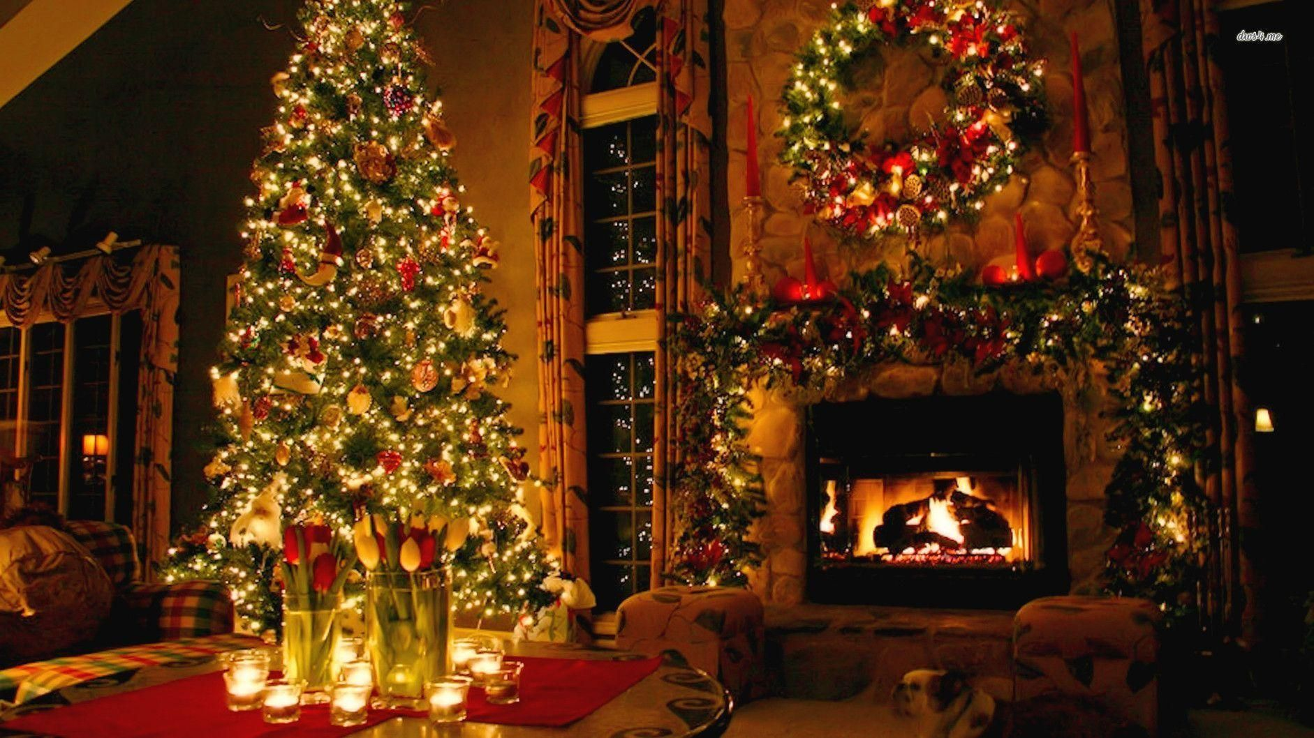 Fireplace Christmas Decor Wallpaper In Hd Hd Wallpapers Christmas Desktop Christmas Fireplace Beautiful Christmas Trees