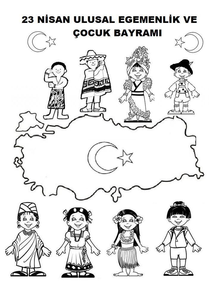 23 Nisan Boyama Sayfaları Etkinlik Kindergarten Crafts