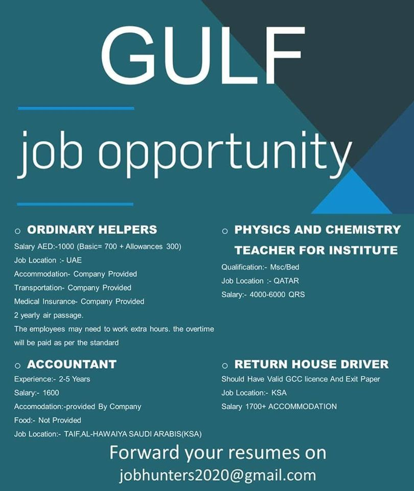 Gulfjobopportunities Forward Your Resumes On Jobhunters2020