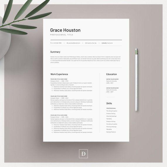 Resume Template Resume Template Word Modern Resume Etsy Resume Cover Letter Template Modern Resume Template Cover Letter For Resume
