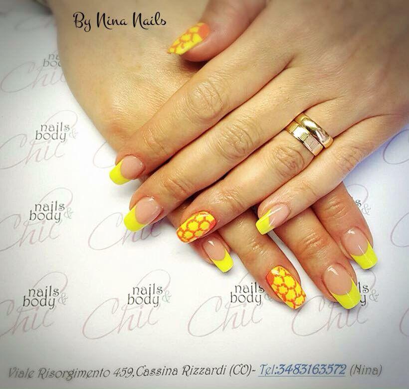 Yallow French by Nina Nails | Nails | Pinterest | Ninas nails