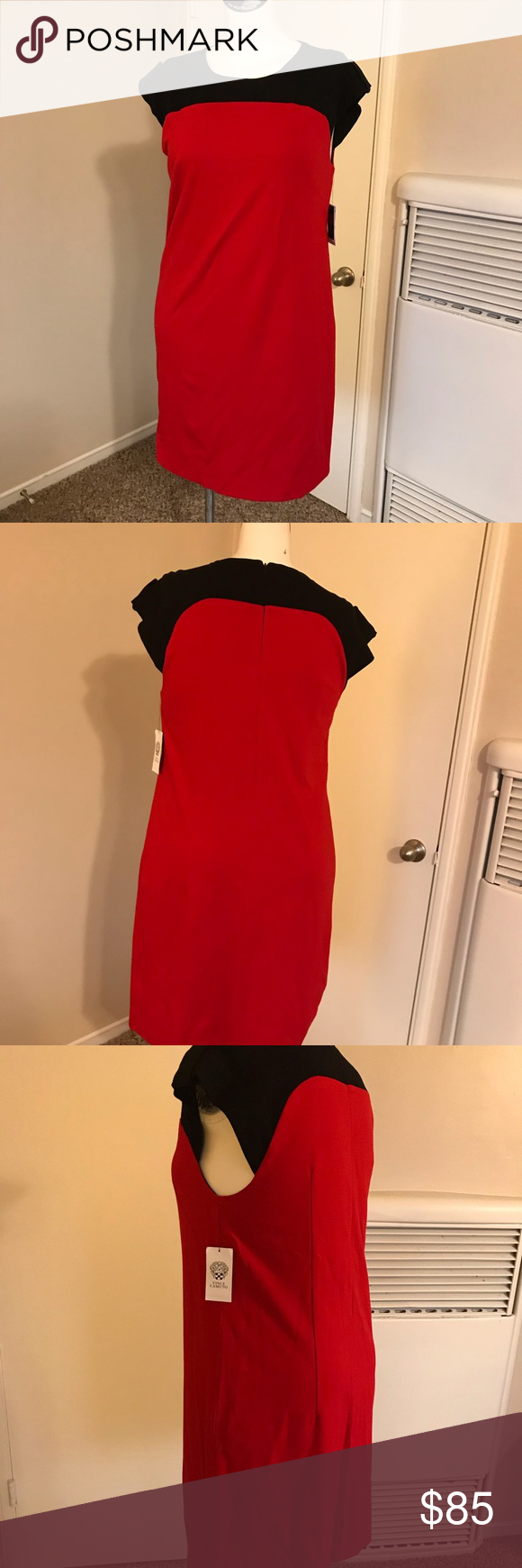 Vince Camuto Touch Of Luxe Dress Red Dress With Black Accents At The Top Invisible Zipper In Back Approximat Clothes Design Vince Camuto Dress Fashion Design [ 1740 x 580 Pixel ]