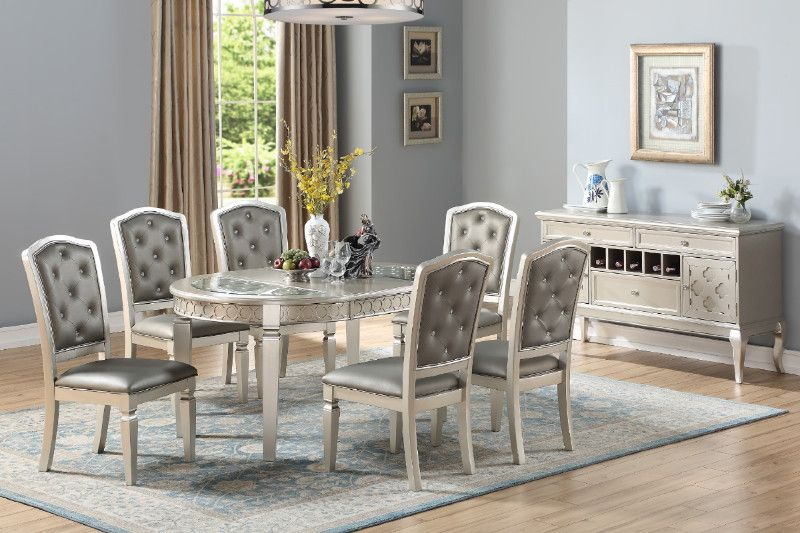 7def8de1d3051 Poundex F2473-1763 7 pc Daimler II light champagne finish wood round   oval  dining table set glass insert tops
