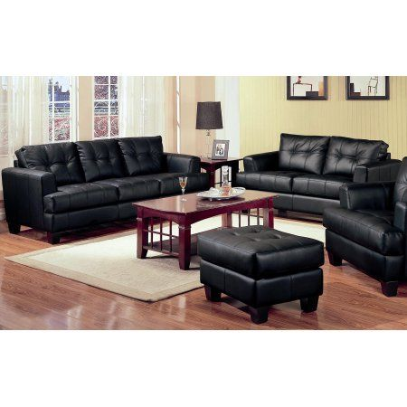2 Piece Modern Black Bonded Leather Sofa And Loveseat Livingroom Set Leathersection Living Room Sets Furniture Living Room Leather Black Living Room