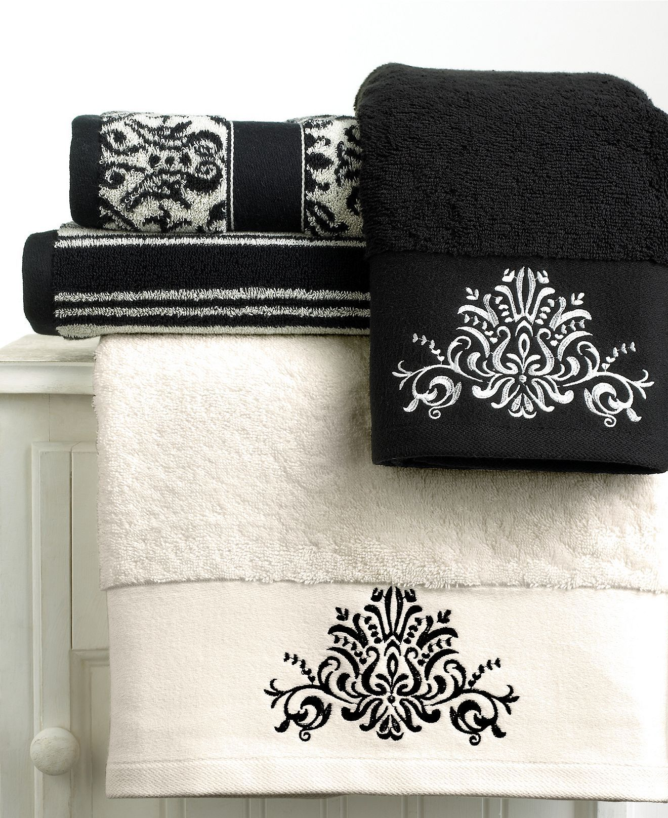 CLOSEOUT! Bianca | Black and white towels, White towels, White