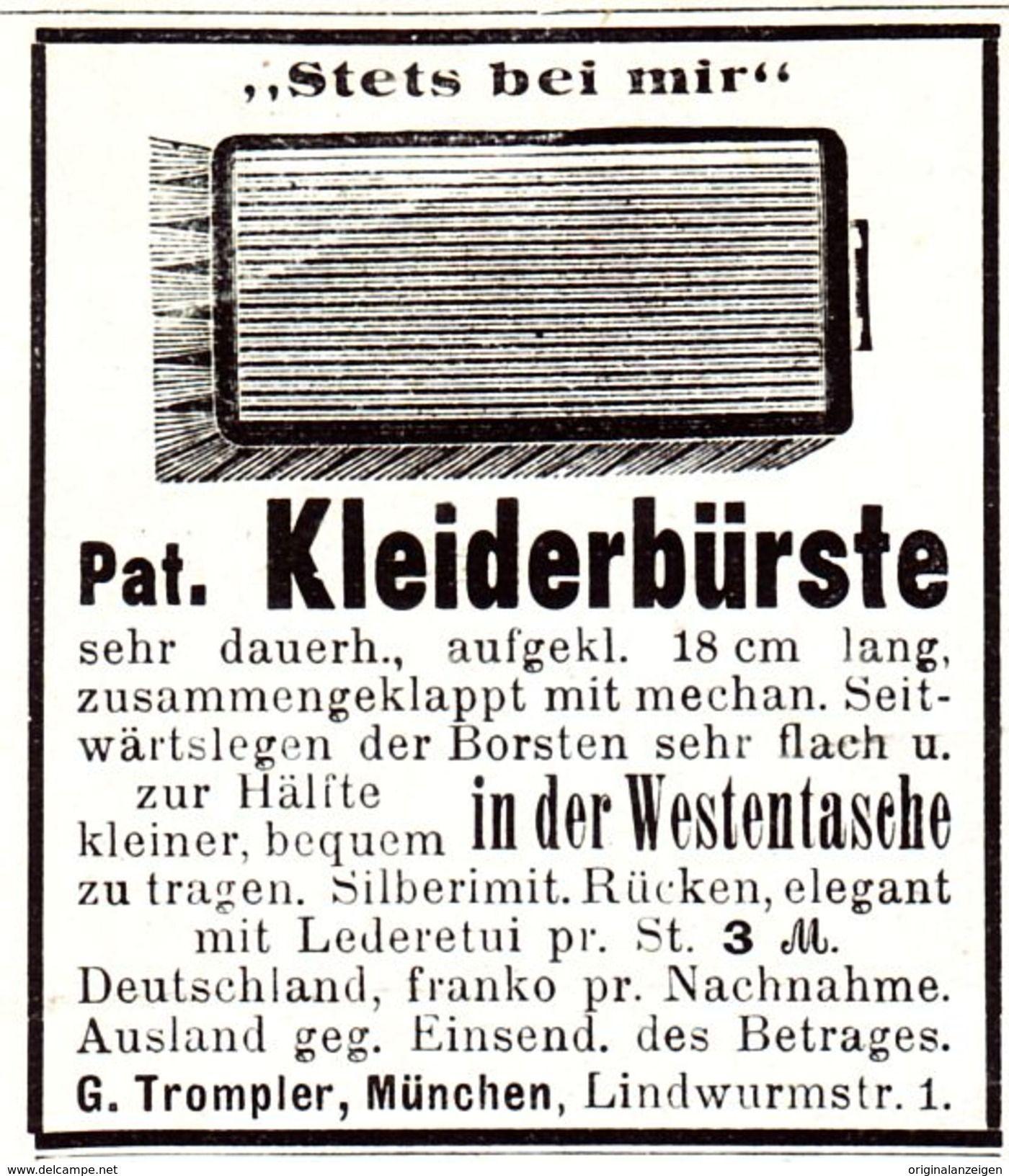 Original-Werbung/ Anzeige 1907 - KLEIDERBÜRSTE / TROMPLER - MÜNCHEN - LINDWURMSTRASSE  - Ca. 45 X 50 Mm - Werbung