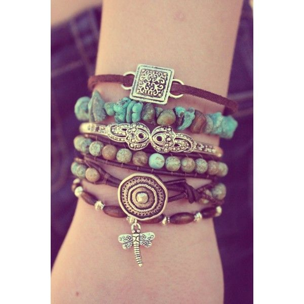 Green Turquoise Bohemian Combo Includes 4 Bracelets ❤ liked on Polyvore