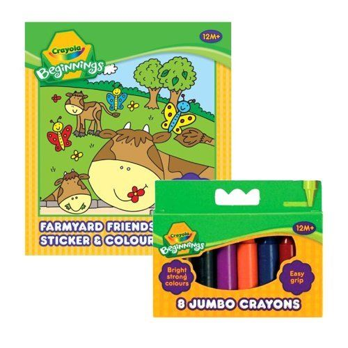 Crayola Beginnings Farmyard Friends Sticker & Colouring Book with 8 Beginnings Mini Crayons by Crayola. $7.99. Crayola Beginnings Farmyard Friends sticker & Colouring Book.. Includes 30 Fun Stickers, 24 Colouring Pages and 8 Beginnings Jumbo Crayons!. Designs may vary. Quality Guarantee. For Ages 12 months +. A farmyard themed colouring book where even the tiniest of hands can scribble and stick with confidence. Let your little one have lots of colouring and sticker fu...