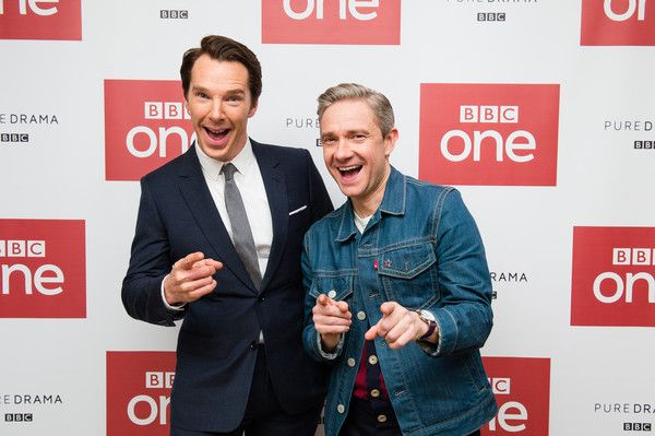 Benedict Cumberbatch and Martin Freeman attend a screening of the 'Sherlock' 2016 Christmas Special in London.