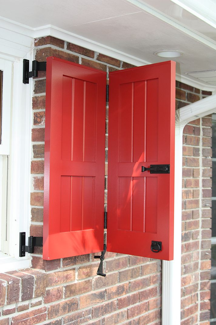 This Red V Groove Panel Bi Fold Shutter Was Designed To Cover A