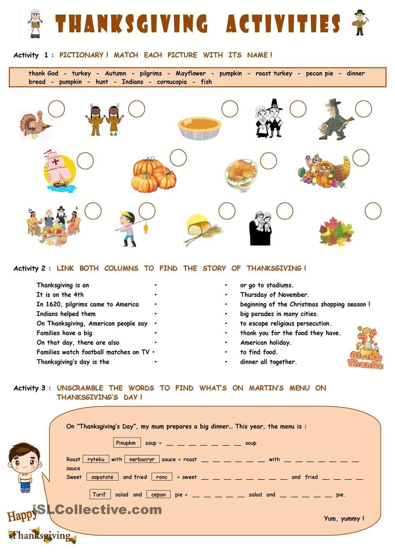 Thanksgiving activities | Engelsk/English | Pinterest | Engelsk