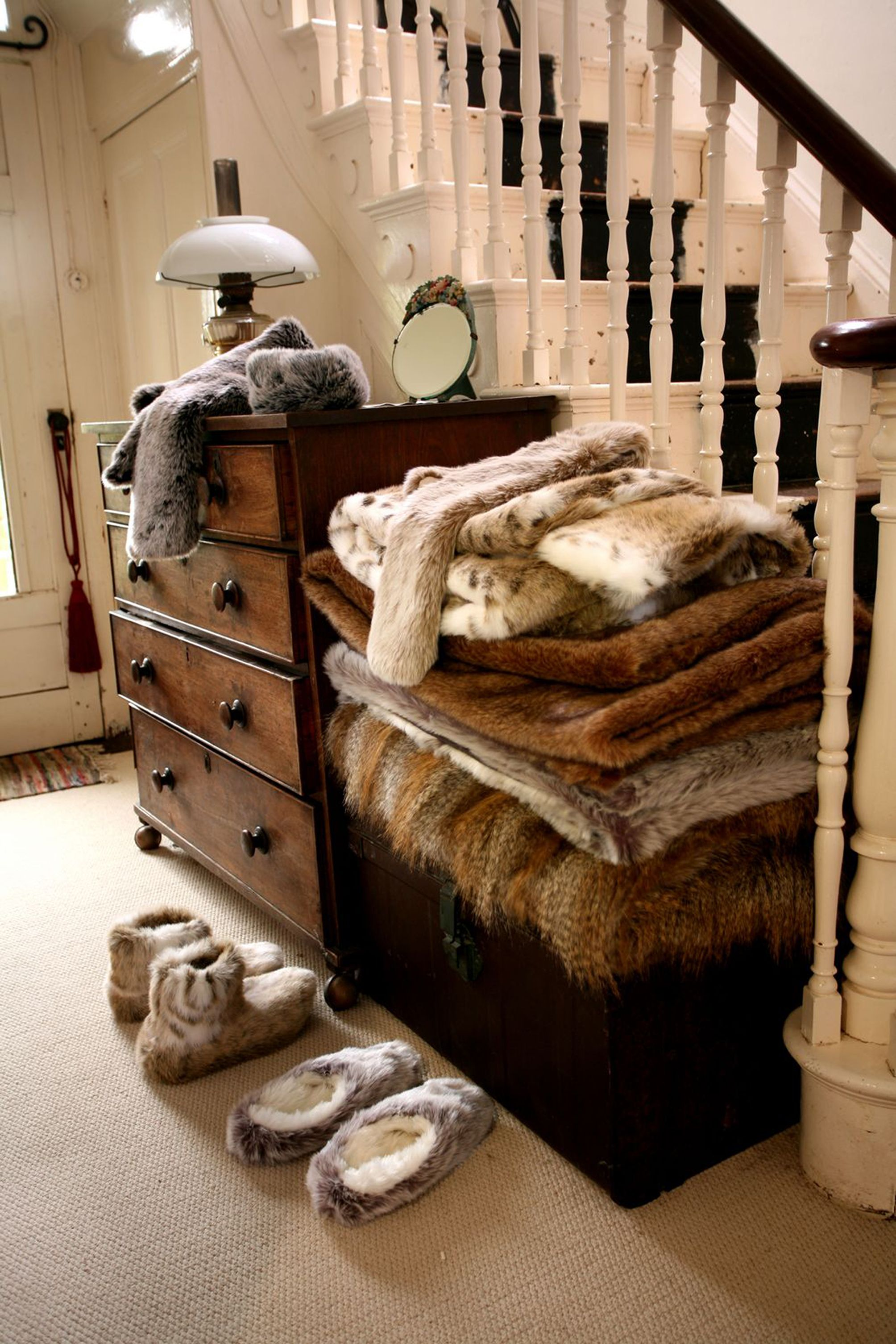Hallway Inspiration Helen Moore Faux Fur Throws Welcome Home