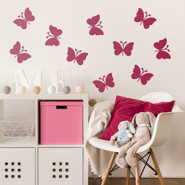 Kit de 10 mariposas. Vinilo decorativo infantil en kit. #vinilosdecorativos #decoracion #patrones #mosaico #mariposas #teleadhesivo