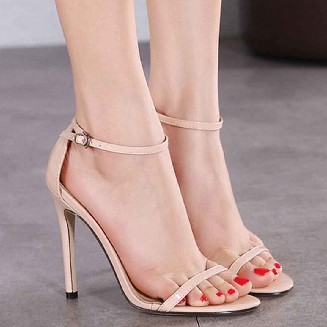 Women's Classic Patent Leather Sequin Ankle Strap Slingback Spike High Heel Sandals Dress Shoes