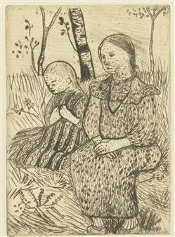 Paula Modersohn-Becker - German Expressionism - Two Young Girls, Drawing - Zwei Bauernmädchen - 1899