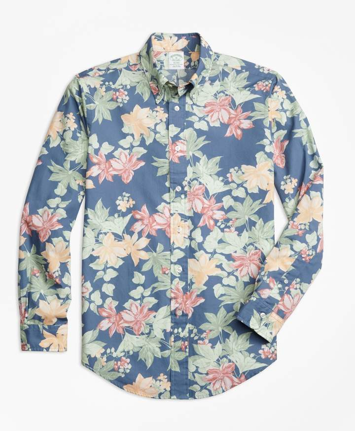 9b17642d476 Brooks Brothers Milano Fit Tropical Floral Print Sport Shirt ...